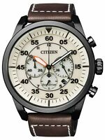 Citizen Eco-Drive Solar Powered Leather Strap Chrono Mens Steel Watch CA4215-04W