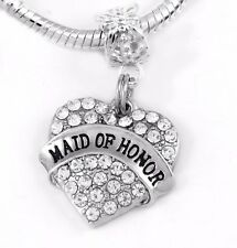 Maid of honor Charm crystal heart Fits European Bracelet Maid of honor charm onl
