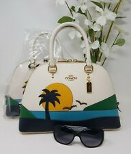 🌴NEW Coach Katy Sunset Motif Beach Palm Tree Seagull's Satchel 1581 AUTHENTIC🌴