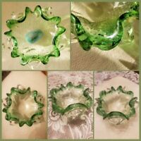 MCM Murano Bullicante EMERALD GREEN & CLEAR GLASS Bubble Art BOWL STUNNING!