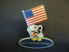 DISNEY WDW MICKEY MOUSE HOLDING USA FLAG BLUE BACKGROUND PIN