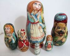 "Hand Painted One of a Kind Russian Nesting Doll ""Alice in Wonderland""by Ilyukova"