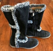 Primigi Black Suede Leather Girl Boots w/ Fur Euro Size 30 /Us 12-12.5, Italy