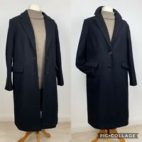 M&S Autograph Black Single Breasted Wool/Cashmere Blend Coat UK14 Overcoat