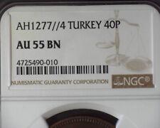 OTTOMAN TURKEY SULTAN ABDUL AZIZ AH1277/4 (1864) 40 PARA (KM#702) NGC AU55 BN