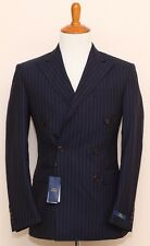 NEW Polo Ralph Lauren Navy Blue Pinstriped Double Breasted 100% Wool Suit 38R