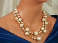 Very Showy Vintage 1950's Faux Pearl Silk Bead Crystal Necklace  1625jl
