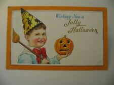 Jolly Boy Halloween Postcard Orange Mass Cancel 80 B cdii