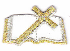 HOLY BIBLE, WHITE w/GOLD CROSS/Iron On Embroidered Patch/Religion,Church,Worship