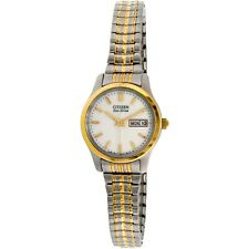 Citizen Eco-Drive Women's White Dial Two-Tone 25mm Watch EW3154-90A