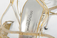 DOLCE & GABBANA D&G Vero Cuoio Ivory Gold Tones Heel Shoes Italy