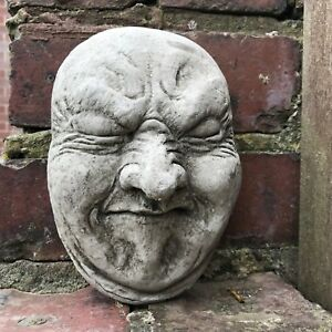 Fart poo face garden stone ornament wall hanging gurning statue funny