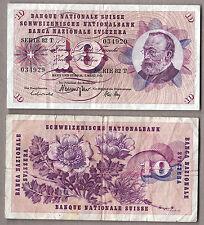 BANCONOTA SVIZZERA  SWITZERLAND 10 Franken 1973 Circulated Circolata