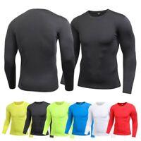 Mens Long Sleeve Compression Baselayer Body Under Shirt Tight Sports Tops Shirt
