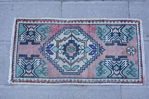 Pink Rug 1.7x3 ,Turkish Rug,Vintage Rug,Faded Rug,Door Mat,Wool Rug,Floor Mat.