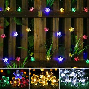 50 LED SOLAR POWERED FLOWER STRING LIGHTS GARDEN OUTDOOR FAIRY SUMMER LAMP