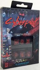 Q-Workshop Dice  Cyberpunk Red - Essential Dice Set - Black w/Red (6) New