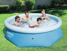 "BESTWAY 8FT FAST SET INFLATABLE FAMILY OUTDOOR GARDEN POOL 8' X 26"" POOL"