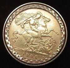 Vintage 22ct oro 1906 Eduardo VII medio soberano en 9ct Anillo De Oro