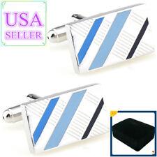 Hot Sale Men Cufflinks Black & Blue Enamel Cuff Links With Gift Box