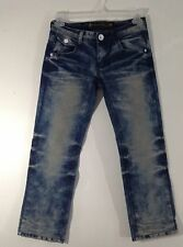 teen HJGN Jeans Fashion Classic Size 27 Whisker Rhinestones Honeycomb Destroyed