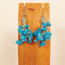 "1 1/2""  Drop Style Turquoise Color Stone Chip Handmade Dangle Seed Bead Earring"