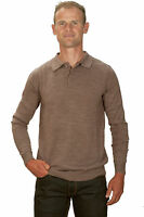 Ugholin Pull Homme Cachemire Fin Col Polo Beige Manches Longues