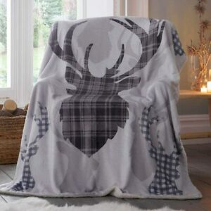 Tartan Stag Grey 130cm x 170cm Sherpa Fleece Blanket Snuggle Cosy Winter