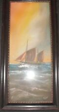 Victorian Antique Gouache Naive Folk Art Painting Gt Yarmouth Smack Framed C1890