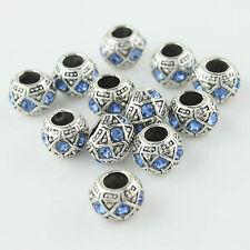 5pcs 10mm Czech Crystal Tibetan Silver Round Charm Beads for European Bracelet