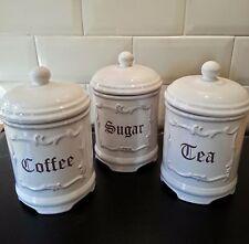 Set of 3 Coffee Tea Sugar Canisters Vintage White Storage Jars Kitchen Display