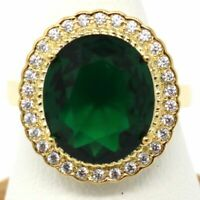 Sparkling Oval Green Emerald Halo Ring Women Anniversary Jewelry 14K Yellow Gold