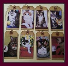 BEAUTIFUL CATS - PRIMITIVE HANG TAGS - SET OF EIGHT POSING HAPPY CATS
