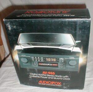 New Vintage AUDIOVOX AV-985 AM/FM Stereo Radio Cassette Tape Player In-Dash