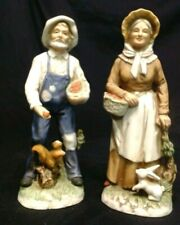 """VINTAGE OLD MAN & OLD LADY WITH APPLES AND ANIMALS FIGURINES 6-3/4"""", HOMCO"""
