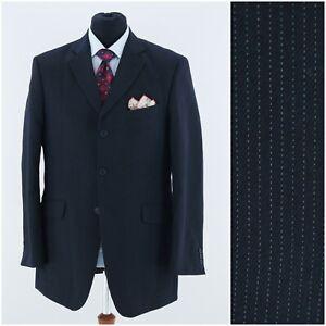 MARKS & SPENCER Mens Size UK 40L Black Pinstripe Sport Coat Blazer Jacket