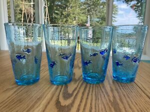 Reproduction blown bubble glass drinking glasses with applied glass blue fish