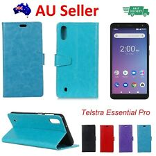 Telstra Essential Pro Wallet Cover Soft Back Case with Stand, Screen Protector