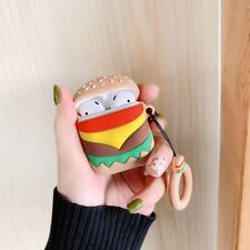 2019 3D Cartoon Hamburger Headset Airpods Charge Case Cover For Airpod + Ring