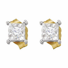 10kt Yellow Gold Womens Round Diamond Solitaire Earrings 1/8 Cttw
