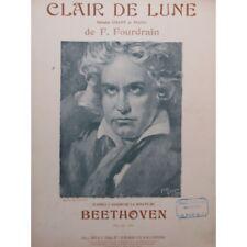 FOURDRAIN Félix Clair de Lune Beethoven Chant Piano 1912 partition sheet music s