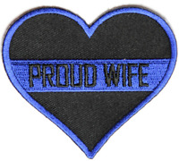 PROUD WIFE HEART POLICE PATCH COP LAW ENFORCEMENT HUSBAND THIN BLUE LINE PROTECT