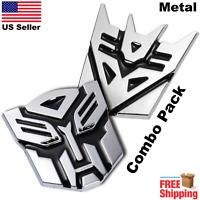 "(Combo) 3D METAL Transformers Emblem Optimus Prime & Decepticon Car Sticker 3"""