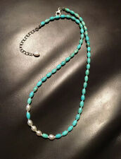 Lovely & delicate necklace/earring set of turquoise beads and freshwater pearls