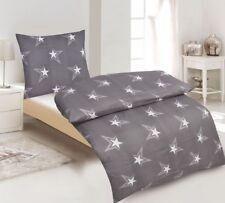 Bettwäsche Baumwoll Renforce Sterne All Grau Weiß Bett Deko 155x220 cm NEU