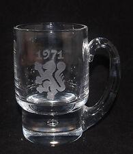 VINTAGE KOSTA BODA ART GLASS CRYSTAL MUG VICKE LINDSTRAND ETCHED 1971