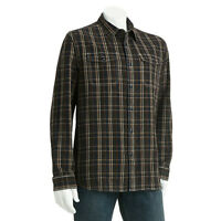 New Men's Dockers Plaid 2-Pocket Chambray Casual Shirt Brown Size XL MSRP $60