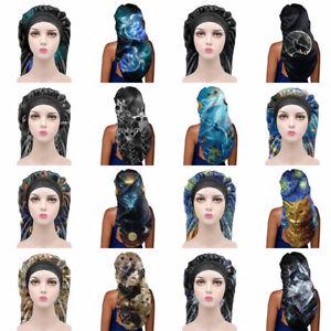Fahion Animals Night Day Long Sleep Cap for Womens Soft Satin Bonnet Hats Long
