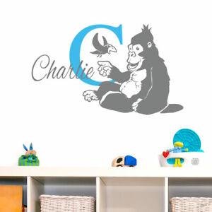 Nombre Personalizado Adhesivo Pared Gorila Bebé Arte Infantil Guardería p1