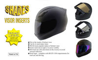 "Shades Tinted Helmet Visor Inserts - Silver / Gold / Purple ""Road Legal"""